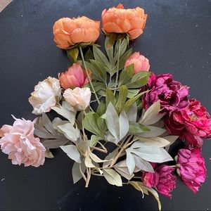 Lot of 7 silk floral peony stems from Michaels
